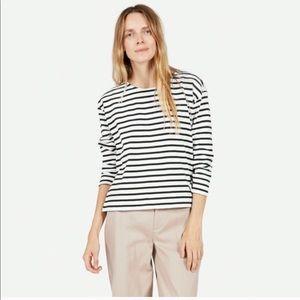 EVERLANE • stripe blue and white blouse